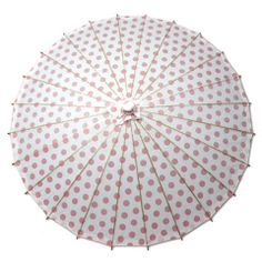 Pretty in Pink – Parasols by Design.  Pink Polkadot wedding parasol.  Pink wedding decor.  Pretty!
