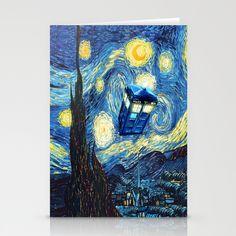 Soaring Tardis doctor who starry night oil painting Stationery Card #tardis #doctorwho #starrynight #vangogh #screamingman #flying #phonebooth