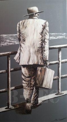 """""""L'homme à la valise"""" Tableau original peint par l'artiste peintre B-LEC www.b-lec.sitew.com"""