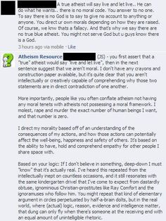 True Atheist....Atheism Resource -I really like this FB page.  There are some interesting discussions happening on there and they pick up some great stories around the world.  If you haven't checked them out then do so and join the FB feed.  I don't do much on FB anymore but this is one of my favorite sources of inspiration, debate, news, and things that make me think about the world I live in and how I'm living in it.