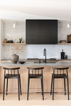 Beautiful modern farmhouse kitchen design with light woods, and black range hood from Sophie Burke Design farmhouse lighting My Favorite Pins of the Week + Weekend Sale Alerts - jane at home Kitchen Lighting Design, Modern Kitchen Design, Kitchen Design Minimalist, Modern Kitchen Inspiration, Modern Kitchen Interiors, Eclectic Kitchen, Scandinavian Kitchen, Wood Interiors, Scandinavian Modern
