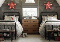 habitación infantil decorada en grises con detalles en rojos