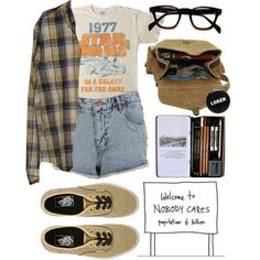 [loser] - Ideas of Star Wars Outfits - [Outfit Star wars shirt Plaid shirt Glasses Summer] Indie Outfits, Grunge Outfits, Casual Outfits, Summer Outfits, Nerd Outfits, 70s Outfits, Summer Shorts, Fandom Outfits, 90s Grunge
