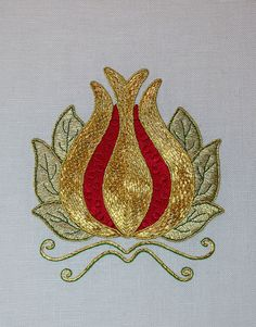 RED & GOLD Modern  Goldwork Pomegranate by RalRay Embroidery, via Flickr