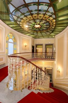 Beautiful Stairway and Windows in the Bristol Palace Hotel, Genova, Italy