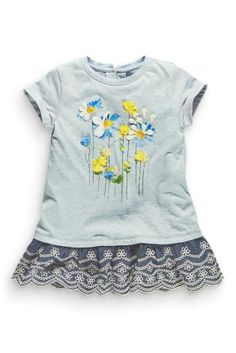 Buy Blue Marl Floral Broderie Hem Tunic from the Next UK online shop Next Clothing Kids, Little Fashion, Kids Fashion, Painted Clothes, Kids Patterns, Design Girl, Baby Prints, Kids Wear, Latest Fashion For Women