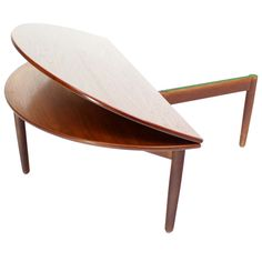 Mid-Century Danish Modern Demilune Round Flip-Top Coffee Table | From a unique collection of antique and modern coffee and cocktail tables at https://www.1stdibs.com/furniture/tables/coffee-tables-cocktail-tables/