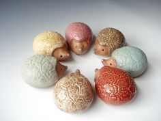 Hedgehog Ceramic Clay Animal Sculpture in Pink Glaze on Textured Clay. $27.00, via Etsy.