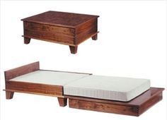 coffee table that transforms into a guest bed... Found on tinyhousepins.com