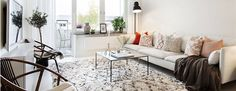 love this space - nordic meets ethnic beni ouarain rug