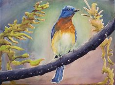 """Blue Bird,"" 12"" x 16"" watercolor on paper"
