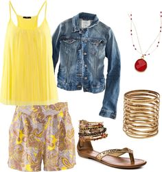 Yellow Pattern Shorts Outfit