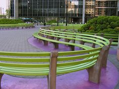 Martha Schwartz landscape architecture I love the ,the curving benches and the choice of green in harmony with nature clean and modern Landscape Elements, Landscape Architecture Design, Contemporary Landscape, Urban Landscape, Landscape Art, Urban Furniture, Street Furniture, Modern Landscaping, Garden Landscaping