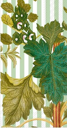 IHR Caskata Studio Green Leaves and White Striped Foliage Printed 3-Ply Paper Guest Towels Wholesale BF740100