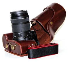 Protective Compact Leather Case with Shoulder Strap for Canon EOS 60D 70D 18135mm Len SLR Camera Dark Brown ** Check out the image by visiting the link.