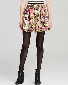 AQUA Skirt - Varsity Floral Print Scuba Pleated