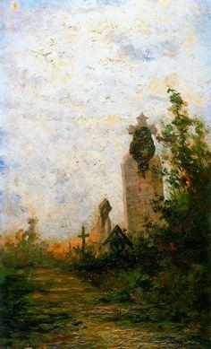 "Modest Urgell Inglada (1839 - 1919). ""Interior cementerio"".Óleo sobre tela. 40 x 24 cm"