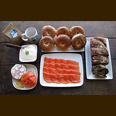 New York Brunch Give a taste of New York with the city's best bagels and lox. russ and daughters Russ And Daughters, Bagel Bar, Best Bagels, Brunch Bar, Chocolate Babka, Smoked Fish, Gourmet Gifts, Serious Eats, Treats