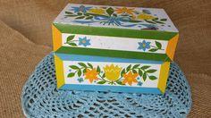 Vintage Floral Metal Tin Kitchen Recipes Box - Cooking Recipe Syndicate Mfg Co. tulip