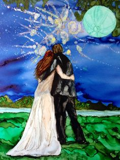 Wedding celebration by me! Laurie Henry. Copyright 2014 alcohol ink.