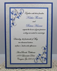 Stunning Royal Blue And Silver Glitter Invitation By InviteBling