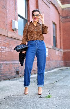 The Girlfriend Jean and leopard blouse Girlfriend Jeans, Boyfriend Jeans, Mom Jeans, Small Wardrobe, Leopard Blouse, The Girlfriends, Wild Style, Perfect Match, Wild Fashion