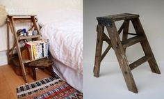 Bedside table that is an old ladder...what's not to love?