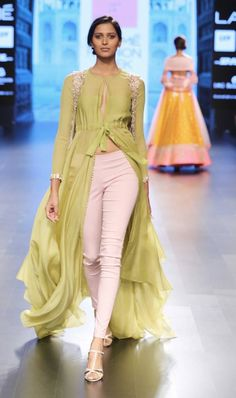 Pastel green front open anarkali with fitted pants by Anushree Reddy at Lakme Fashion Week Summer Resort 2016 Indian Fashion Online, India Fashion, Ethnic Fashion, Asian Fashion, Korea Fashion, Salwar Kameez, Churidar, Anarkali, Saree
