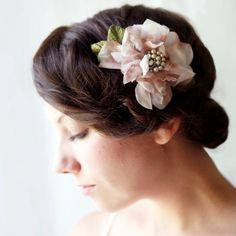 faded pink vintage flower comb 'freya' for the bridesmaids or bride