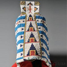 Cheyenne Beaded Hide Triangular Soft Cradle with Red Trade Cloth Bottom