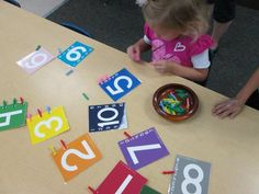 Mini peg & number activity - from For the Children