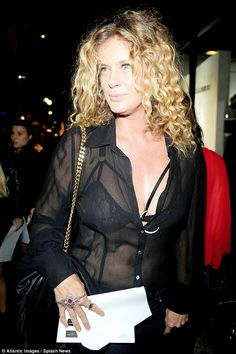 Ace in lace: Former supermodel Rachel Hunter showed off some very sexy underwear, when she headed out to The Art Exhibition Opening of Brian Bowen Smith's Metallic Life on Thursday evening Rachel Hunter, See Through Blouse, Sheer Blouse, Will Smith, Supermodels, Underwear, Bra, Lace, Sexy