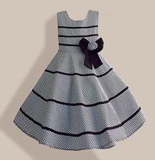 Fashion Girls Dress Gray Plaid Flower Bow Party Pageant Children Clothes SZ 4-12