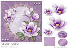 Topper Elegant 7 on Craftsuprint designed by Carol James - Beautiful flowers on a oval shape with a lace surround embellished with pearls. Some decoupage pieces for that 3d effect. 1 sentiment tags and 1 blanks are provided. Greeting included is 'Happy Birthday'. Can be used for lots of different occasions. A stamp image is also included for you to use as a gift tag, an insert or on the back of the card. - Now available for download!