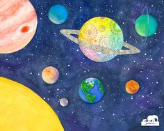 Watercolor print. Solar system with Saturn showing by GinaLeeKim