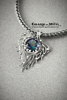 """Peacock Feather"" Silver Pendant"