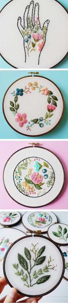 Cinder & Honey Embroiders Vibrant, Flowery Hoop Art Cinder & Honey is the brain child of Caitlin Benson, a Vancouver-based artist and embroiderer. Much of her work involves flowers—love! Embroidery Hoop Art, Cross Stitch Embroidery, Embroidery Patterns, Stitch Patterns, Floral Embroidery, Couture Main, Bordados E Cia, Cross Stitching, Needlework