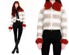 Vtg 70s Striped Faux Fur Glam Hippie Boho Mod O Ring by velvetcave