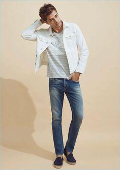 Brazilian model Francisco Lachowski wears Mavi's Frank white denim jacket with its Jake regular-rise slim leg jeans.
