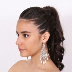 Wedding chandelier earrings with pearls - Orecchini sposa chandelier con perle