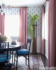 a subtle mauve + blue dining room // Schuyler Samperton