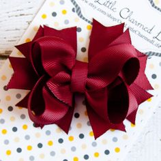 Red Hair Bow Red Hair Clip Red Stacked by OurLittleCharmedLife, $4.50