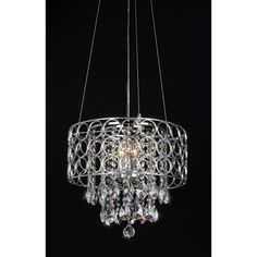 @Overstock.com - Antoinette Crystal Chandelier - Add an elegant touch to your home with this round ceiling chandelier. This four-light fixture features glittering crystals and a sleek chrome finish.  http://www.overstock.com/Home-Garden/Antoinette-Crystal-Chandelier/7547141/product.html?CID=214117 $140.99