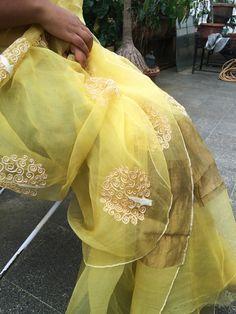 lime yellow saree