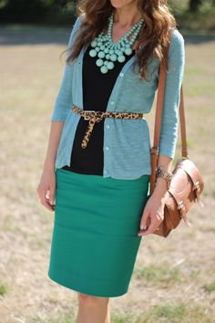 Green pencil skirt + blue cardigan