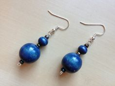 Navy Blue Wooden Beaded Earrings Silver Dangle by CuteIndeed