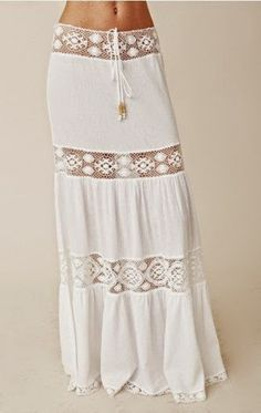 Long mini skirt boho style