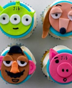 Corrine contacted me nice and early with a request for her two cuties' double birthday bash: A Toy Story themed cake and matching cupcakes for Kai, and Sanrio themed cupcakes. Toy Story Cupcakes, Toy Story Cookies, Themed Cupcakes, Birthday Cupcakes, Disney Cupcakes, Cupcake Cakes, Cake Land, Beautiful Cupcakes, Weird Food