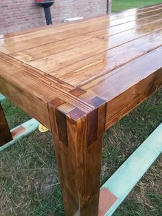 """Home made garden table. Stained with """"dark oak"""" and wheather proofed with wood varnish boat grade, UV and water proof. Deck Furniture, Diy Furniture Projects, Woodworking Projects Diy, Woodworking Furniture, Diy Wood Projects, Rustic Furniture, Diy Dining Table, Wood Table, How To Varnish Wood"""