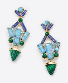 """With a colorful cascade of beautifully polished stones, these cone-tipped chandelier earrings instantly elevate any ensemble. Post back. 2"""" drop."""